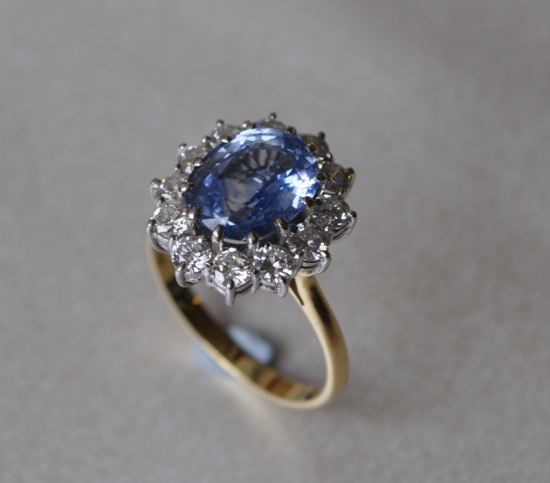 Marquise Cluster With Diamond And Sapphire Ring