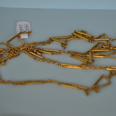 18ct Gold Guard Chain in Bar and Link Design