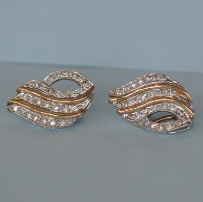 Gold and Diamond Clip on Earrings