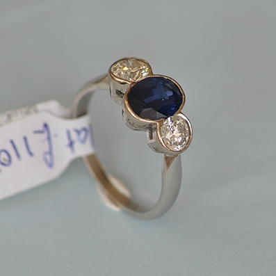 3 Stone Ring with Central Sapphire
