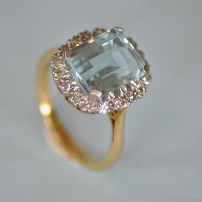 Cushion Cut Aquamarine  Diamond Ring