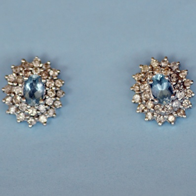 Aqua and Diamond Cluster Earrings