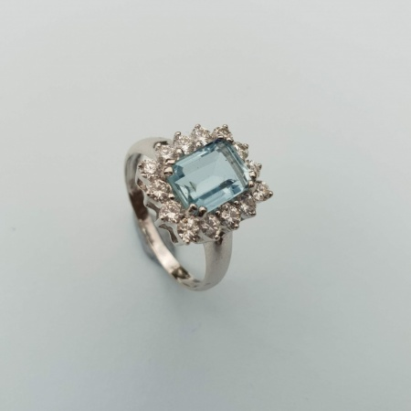 Aquamarine Diamond Cluster