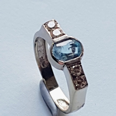 White Gold Aquamarine and Diamond