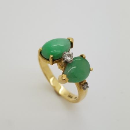 18ct Jade Diamond Ring