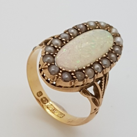 Victorian 15ct Yellow Gold Opal Seed Pearl