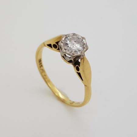 18ct Yellow Gold/Platinum Solitaire Diamond