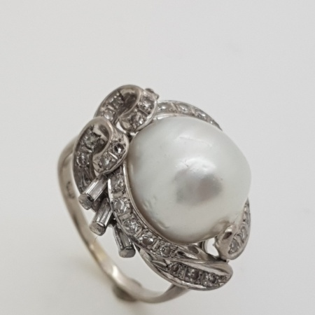Cultured Pearl  Diamond Dress Ring