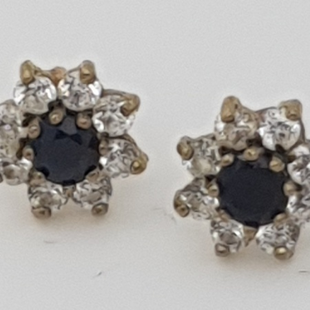 Sapphire and Mossanite Cluster