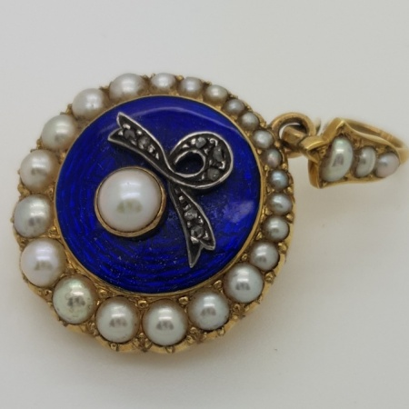Enamelled Pearl Mourning Pendant