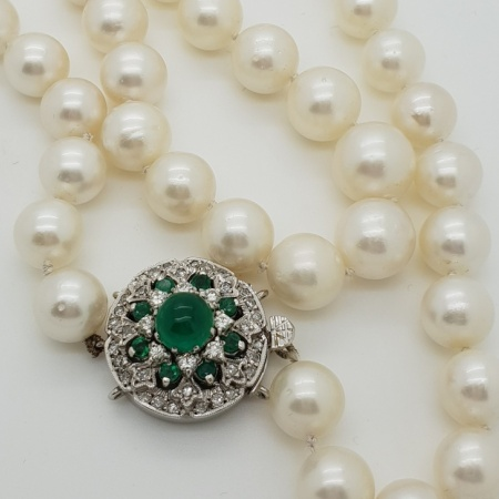 String of Pearls Emerald/Diamond Gold Clasp