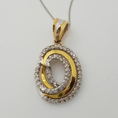 9ct White and Yellow Gold Diamond