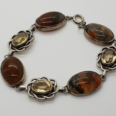 Silver Agate Citrine Bracelet
