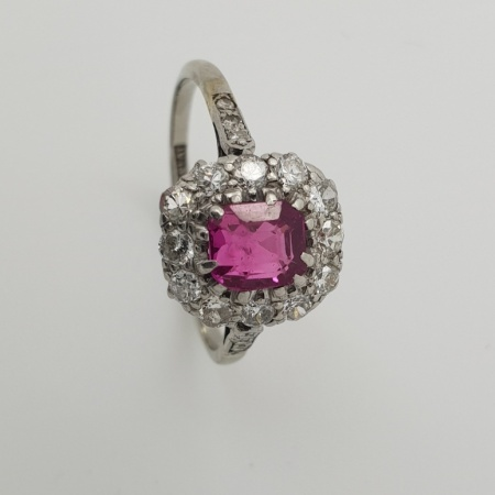 Late 19th Century Ruby and Diamond Cluster