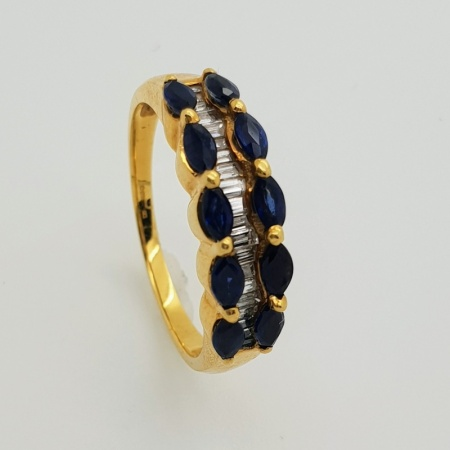 18ct Marquise Sapphire and Baguette Diamond