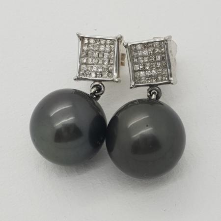 14ct Diamond Black Pearl Drops