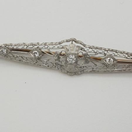French 14ct Diamond Pin Brooch