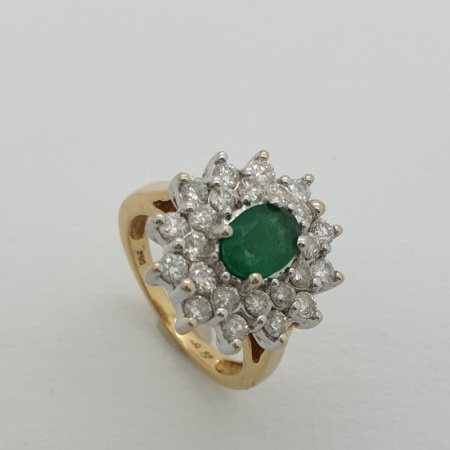 1950's 18ct Emerald Diamond Cluster