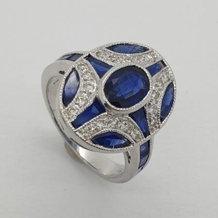 18ct White Gold Sapphire Diamond Art Deco