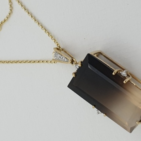 9ct Gold Quartz Diamond Art Deco