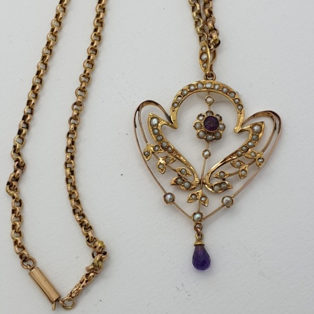 9ct Edwardian Amethyst and Seed Pearl