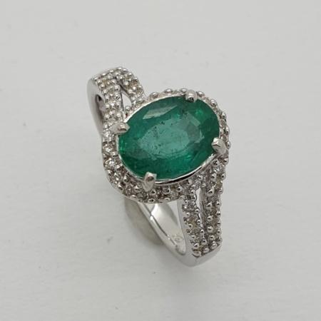 WG 18ct Gold Emerald Diamond Cluster
