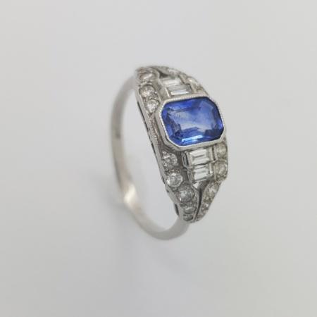 Platinum Sapphire Baguette Diamond Deco Ring