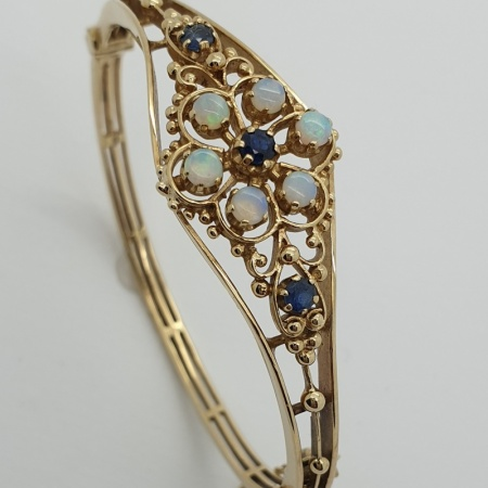 9ct Gold Opal and Sapphire Bangle