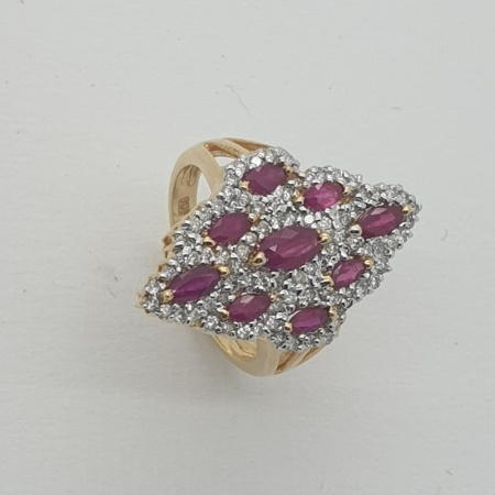 18ct YG Ruby Diamond Dress Ring