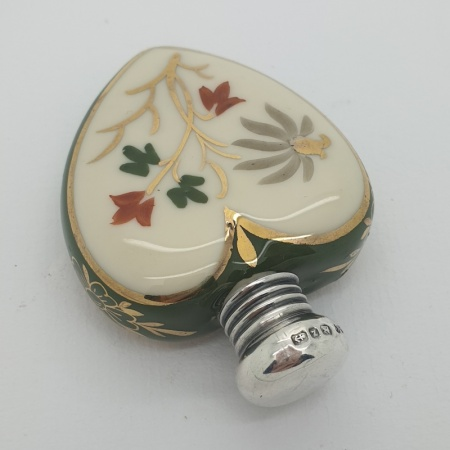 1899 Silver Hand Painted Perfume Bottle
