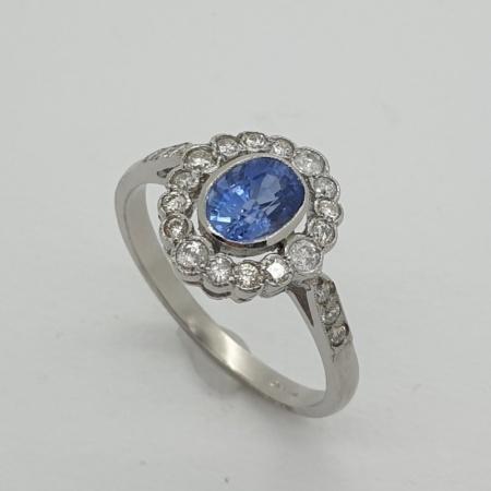 Platinum Sapphire Diamond Cluster