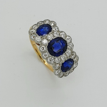 18ct Sapphire and Diamond Trilogy Cluster