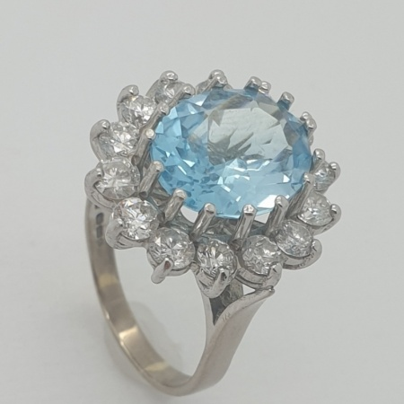 Aquamarine Diamond Oval Cluster