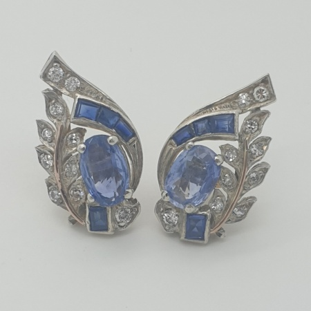 Sapphire and Diamond 18ct White Gold Cocktail Earrings