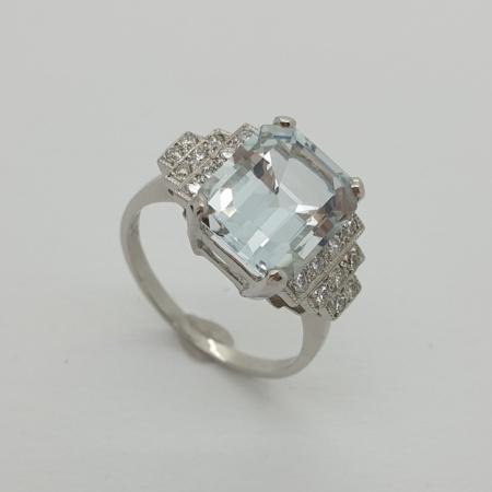 Platinum Pale Aquamarine and Diamond Ring