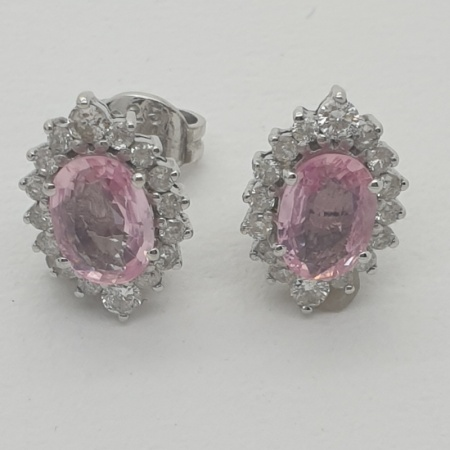 Pink Sapphire Diamond Cluster Earrings