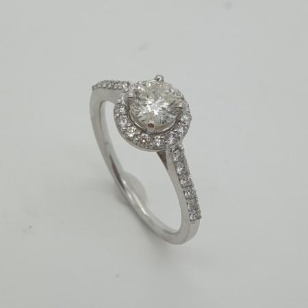 18ct WG Diamond Solitaire Halo Ring