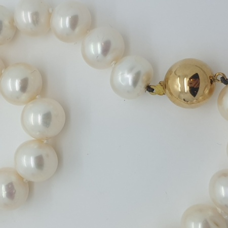 South Sea Pearls with Gold Ball Clasp