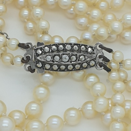 Pearls with Silver Marcasite Clasp