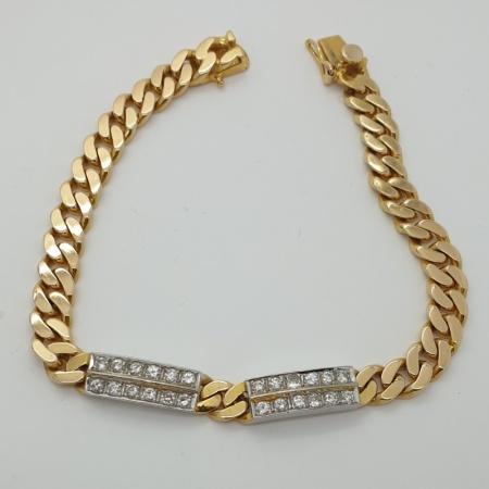 18ct YG Curb Link Bracelet with Diamond Set  Bars.