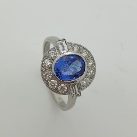 Tanzanite Diamond Art Deco Style Cluster Ring