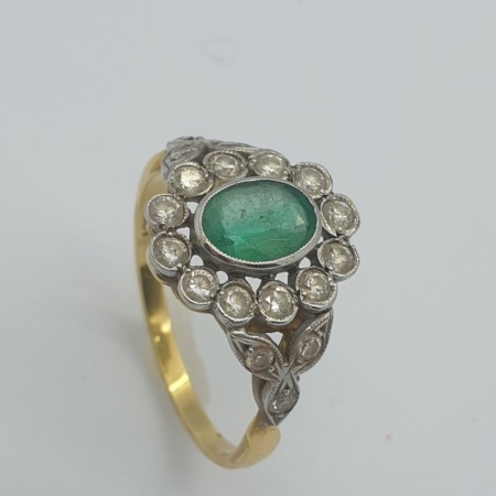 Oval Emerald and Diamond Cluster