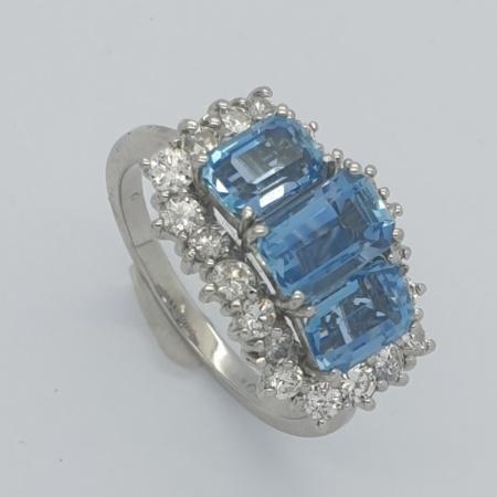 Trilogy Aquamarine Diamond Cluster