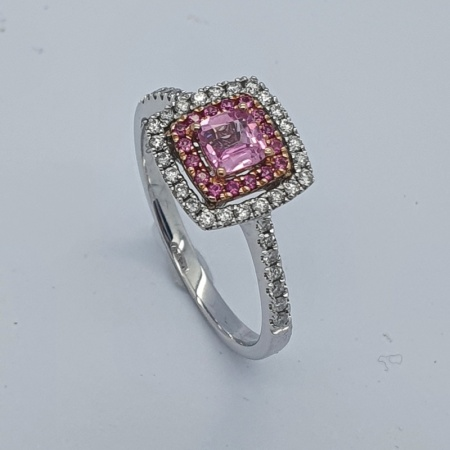 Square Pink Sapphire and Diamond Ring