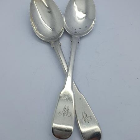 Pair of Glasgow Silver Teaspoons 1823