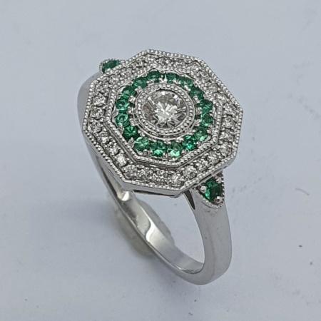 18ct WG Emerald Diamond Target Style Ring