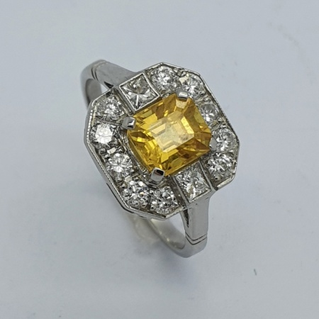 Platinum Yellow Sapphire and Diamond Cluster