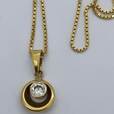 18ct YG Diamond Cupped Pendant