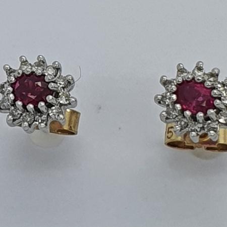9ct Ruby Diamond Earrings