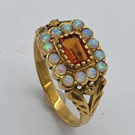 Silver Gilt Spessartine Garnet Opal Ring